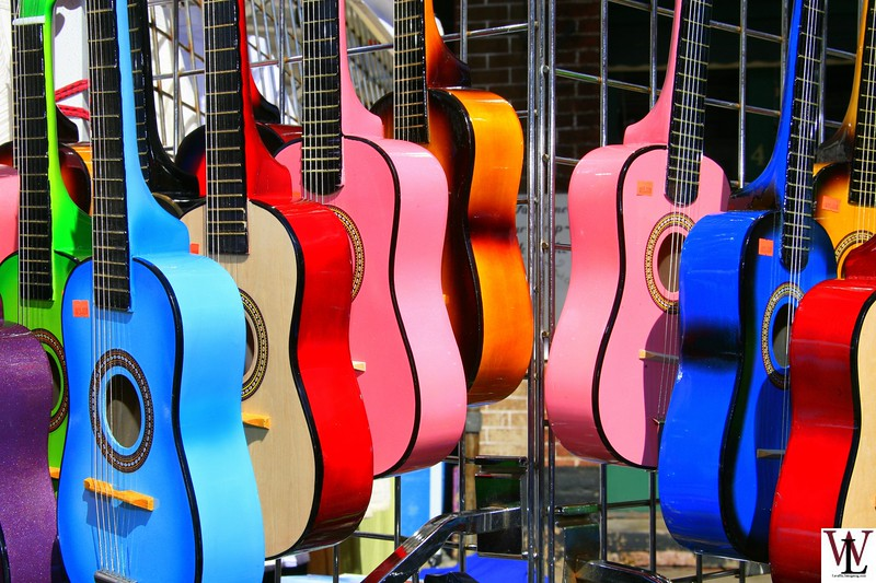 Guitar Display at Street Fair in Jackson, CA