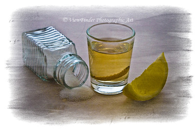 Tequila Shooter, with salt, lime and the worm