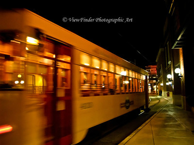 Streetcar departing downtown Ybor City in Tampa FL