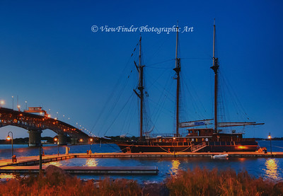 Tall ship at anchor on the York River, near the Coleman Bridge.  Look closely, Pirates may be lurking nearby!