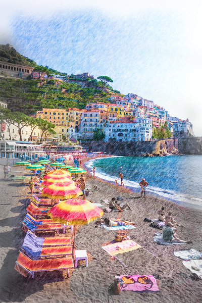 "Watercolor Beach Scene; ""The Amalfi Coast"""