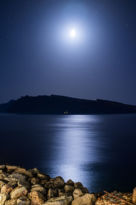 Moonlit view of the Greek island Therasia.