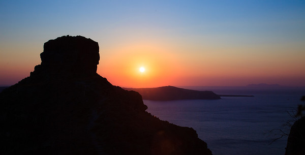 Sunset view of Skaros Rock from Imerovigli in Santorini, Greece.