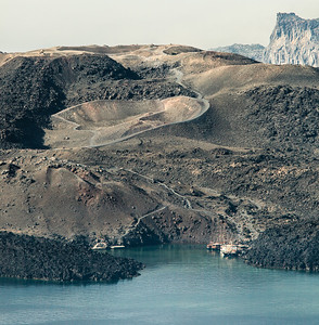 A view of Nea Kameni.  A volcanic island inside the caldera of Santorini, Greece.