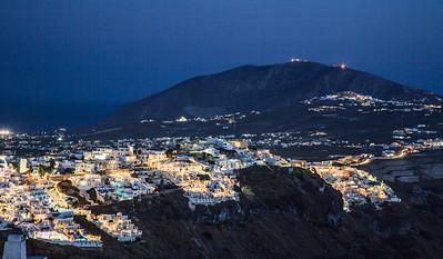 Nightfall over Fira in Santorini, Greece.
