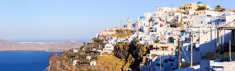 A panorama of Firostefani and Imerovigli in Santorini, Greece.