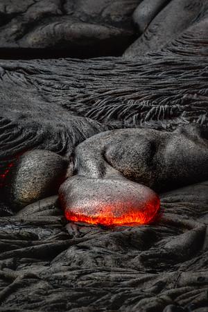 Surface lava flows on the Big Island of Hawai'i