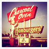 """<div class=""""boxTop""""><h3 id=""""galleryTitle"""" class=""""title notopmargin"""">Retro Signage in OKC: Charcoal Oven, NW Expressway, Oklahoma City, 2011</h3> Artist Statement, Retro Signage Series:  I moved to Oklahoma City in December, 2010, with low expectations. Since arriving, however, while exploring the town's palate and architecture with my husband and my camera, the city's rough edges, mid-century remnants, diverse tastes, and cusp-of-greatness flavor have been a pleasant surprise.   I was raised in Phoenix, AZ, where I still own a mid-century block home in the Central Corridor. In my lifetime, Phoenix has undergone a rebirth. Urban fill, gentrification, preservation, redevelopment, and massive sprawl have brought new life but also new challenges to the young, but increasingly hip, city. Historians, architects, and trendy newcomers are working to preserve the retro-modern artifacts sprinkled around the urban core.   I see Oklahoma City as the Phoenix of 20 years ago. A small-big city, growing at a dizzying rate, with developers rushing to invest and young, artistic people moving back into the core, bringing art, music, food, money, general contractors and interior designers with them. While change is happening quickly, there are still areas of town that are basically untouched since the mid-1900's.   As I explored our Northwest OKC neighborhood and downtown, the mid-century architecture just shouts to me. The sheer quantity of buildings, the stunning examples of modern design, pattern, and signage are a true treasure trove.  I've been a photographer for quite some time. While today I am primarily a commercial photographer, I began as a traveler, and a fine artist. As my business has grown, I've worked hard to stay connected to my creative roots, to the sheer love of photography that resulted in my current job.    These images are a nod to my roots in Phoenix, and I hope that my """"newcomer"""" eye will possibly result in OKC natives seeing their city with a renewed appreciati"""
