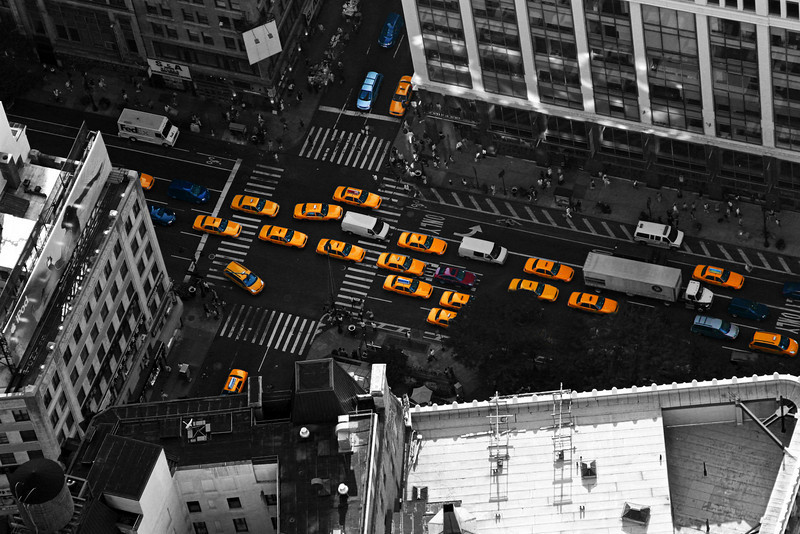 """Taxi !!!""<br /> Corner of West 32nd and 6th (Avenue of The Americas)<br /> New York City (Taken from the Empire State Building)<br /> 24"" x 36"" Print, unmounted - $100<br /> 24"" x 36"" Print, sealed and mounted on fibreboard - $200<br /> Quotes for other sizes, media and mounting or framing upon request."