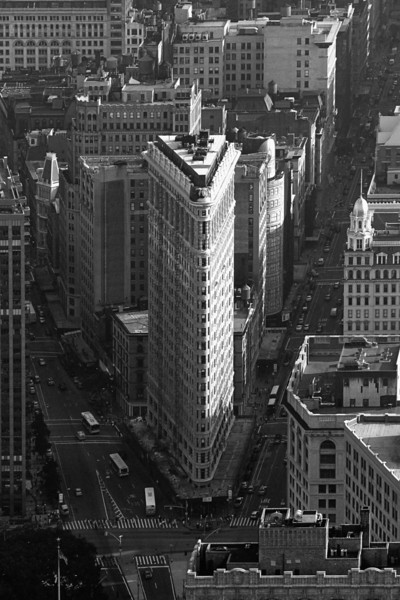 "The Flatiron (aka The Fuller Building)<br /> East 23rd and 5th Avenue, New York City (Taken from the Empire State Building)<br /> 24"" x 36"" Print, unmounted - $100<br /> 24"" x 36"" Print, sealed and mounted on fibreboard - $200<br /> Quotes for other sizes, media and mounting or framing upon request."