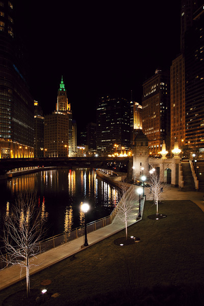 """Chicago At Night #7229<br /> 12"""" x 18"""" Unmounted Print - $25<br /> Quotes for other sizes, media and mounting or framing upon request. edit"""