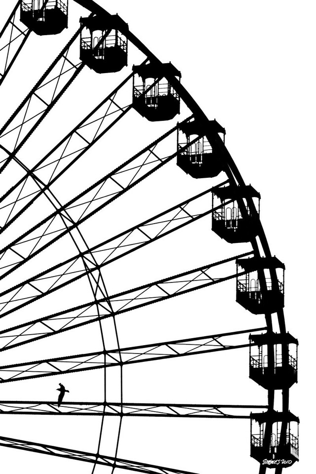 """Going Around In Circles Is Not For Me""<br /> Navy Pier, Chicago, IL<br /> 20"" x 30"" Pure Black on White Canvas - $250"