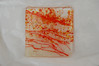 """Soiree D'Orange"" Collection ~ custom tile on opaque backing<br /> <br /> Comprises accent tile, bowls, and a platter<br /> (SOLD)<br /> 4"" x 4"""