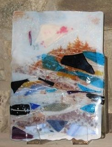 """Summit Pines with Clouds"" - collage wall art<br /> 13"" x 7""<br /> <br /> $500"