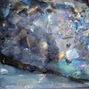 """Indigo Ices"" - custom accent tile, view #1<br /> 4"" x 4"" <br /> <br /> Created with many blues and irridescent golds."