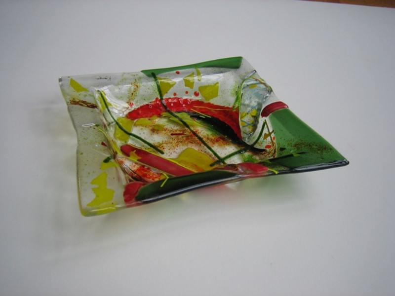 """side view of fused glass dish, 8"""" x 8""""<br /> <br /> $375 (SOLD)"""