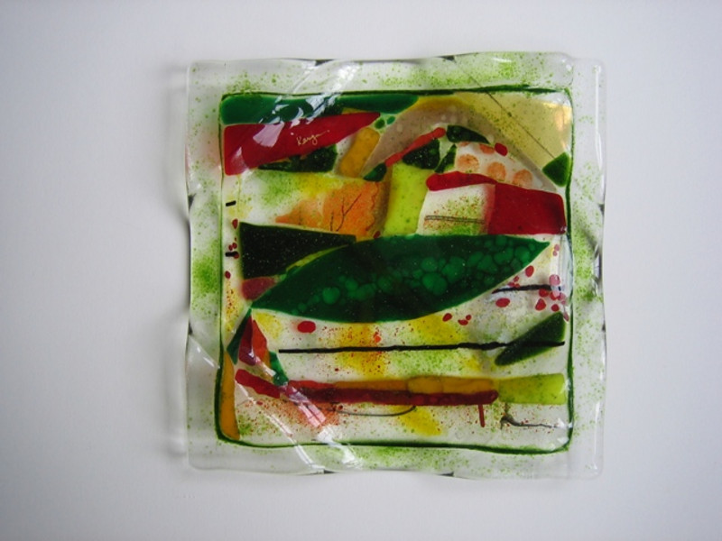"fused glass bowl, 7"" x 7""<br /> <br /> $275 (SOLD)"