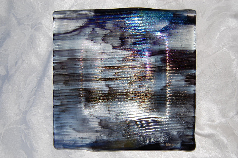 "Glacial Moonshadows Collection<br /> 10"" x 10"" shallow platter<br /> $1200"