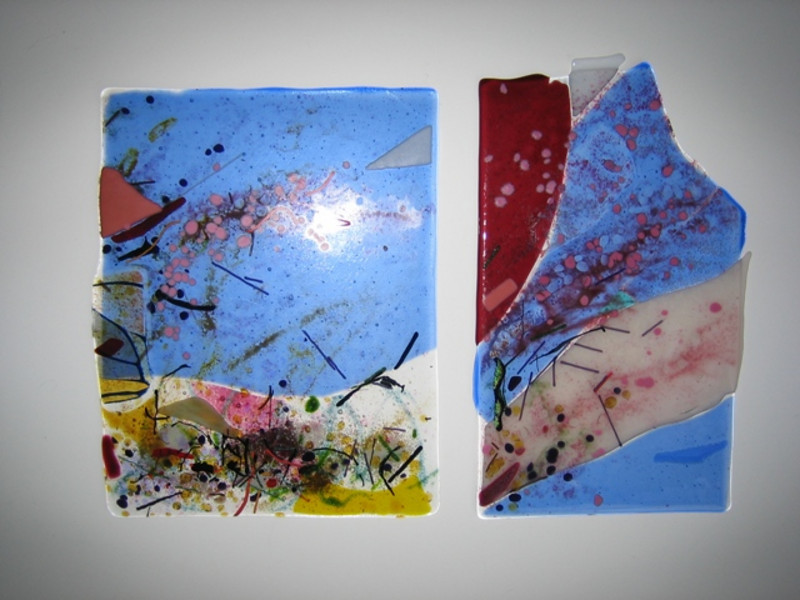 """""""Cherry Blossom Gale""""<br /> fused glass panels (left 10"""" x 7""""; right 10"""" x 5"""")<br /> $600 pair (sold)"""