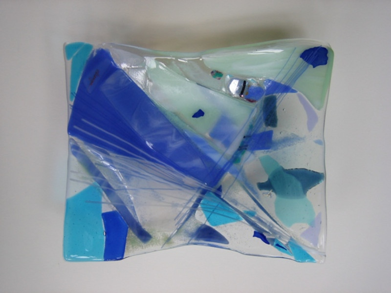 """""""Beach Volley""""<br /> fused glass bowl, 9"""" x 12""""<br /> <br /> SOLD ($400)"""