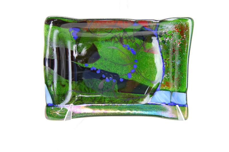 "Aventurine with Cobalt<br /> 5"" x 8""<br /> $400 (sold)"
