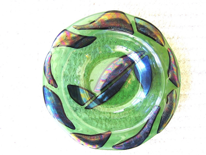 """""""Rainforest Gold""""<br /> green bowl w/irridescent swirls, 9"""" diameter, 3"""" deep<br /> <br /> Last one in series of five; <br />  (all others sold)"""