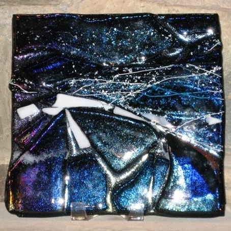 """Fjiord Solstice"" - fused glass collage<br /> 12"" x 12"" <br /> <br /> Just can't part with this one, now framed and on my wall; it reflects my Nordic ancestry of strength and passion for mountains, snow, and dark mystery."