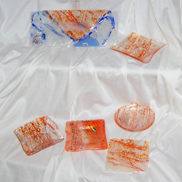 """Soiree D'Orange""<br /> <br /> Comprises accent tile, bowls, and a platter<br /> (SOLD)"