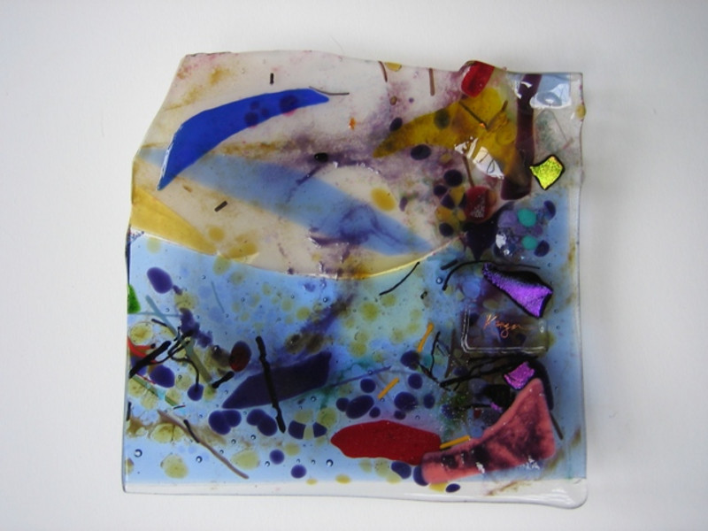 """Tree Breeze<br /> 7"""" x 7"""" glass is layered to 3/4"""" thick<br /> <br /> SOLD ($300)"""