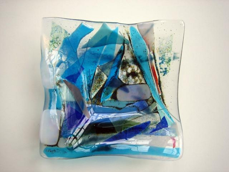 """fused glass bowl, 12"""" x 12"""" x 4""""<br /> <br /> $450 SOLD<br /> similar commissions welcome"""