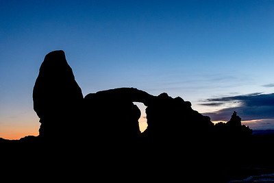 Silhouette Sunset View of Turret Arch
