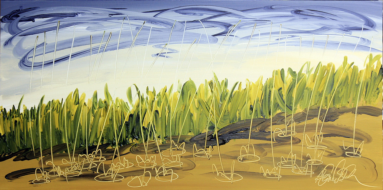 "AND THE RAINS CAME<br /> 18"" x 36""<br /> Acrylic on Canvas<br /> $1,800.00 Unframed<br /> Artist Signature Lower Right"