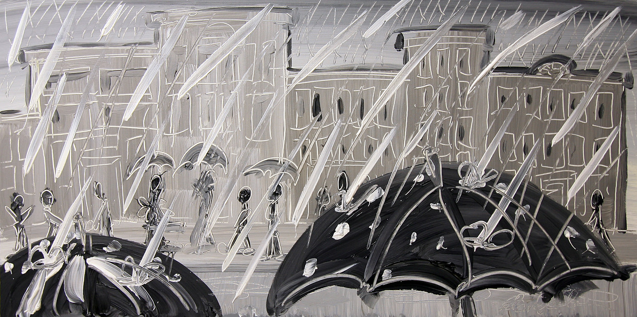 """ANOTHER DAY OF RAIN!<br /> 18"""" x 36""""<br /> Acrylic on Canvas<br /> $1,800.00 Unframed<br /> Artist Signature Lower Right"""