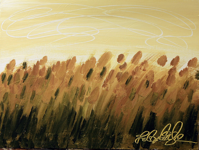 "AUTUMN FIELD<br /> 18"" x 24""<br /> Acrylic on Canvas<br /> A wonderful tonal blend of Sap Green, Yellow Ochre, and Titanium White over thick Gesso.<br /> $1,400.00 Framed<br /> Artist Signature Lower Right"