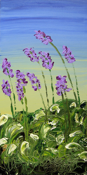 "SIMPLY HOSTA<br /> 18"" x 36""<br /> Acrylic on Canvas<br /> $1,950.00 unframed<br /> Artist Signature Lower Right"