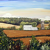 """ANDY'S VIEW<br /> <br /> 36"""" x 72""""<br /> Acrylic on Canvas<br /> PRIVATE COMMISSION for ORAL SURGERY ASSOCIATES IOWA CITY<br /> <br /> A representation of an area north of Iowa City to the east of Highway 1. Artist Lee Iben expressively represents the setting in thick acrylic with bold brush strokes and palette knife applications generously chosen from rich, earthy tones."""