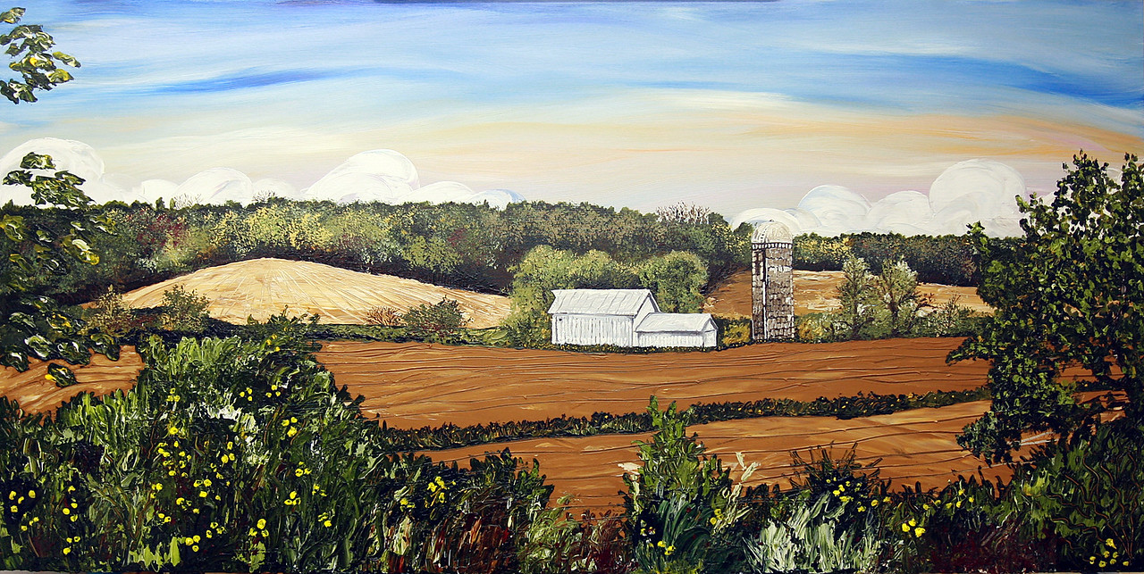"ANDY'S VIEW<br /> <br /> 36"" x 72""<br /> Acrylic on Canvas<br /> PRIVATE COMMISSION for ORAL SURGERY ASSOCIATES IOWA CITY<br /> <br /> A representation of an area north of Iowa City to the east of Highway 1. Artist Lee Iben expressively represents the setting in thick acrylic with bold brush strokes and palette knife applications generously chosen from rich, earthy tones."
