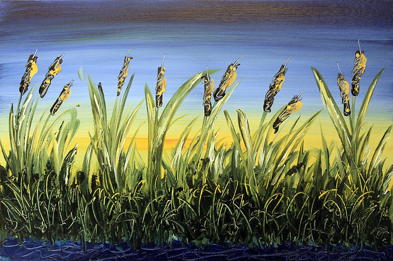 """AT WATER'S EDGE<br /> 24"""" x 36""""<br /> Acrylic on Canvas<br /> PRIVATE COLLECTION <br /> of Dr. Andy and Mrs. Celine Hartwig"""