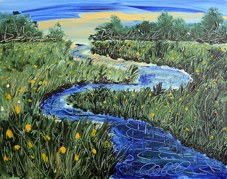 "WINDING STREAM<br /> Acrylic on Canvas<br /> 22"" x 28""<br /> Arist Signature in Stream Lower Right<br /> $1,850.00 unframed"