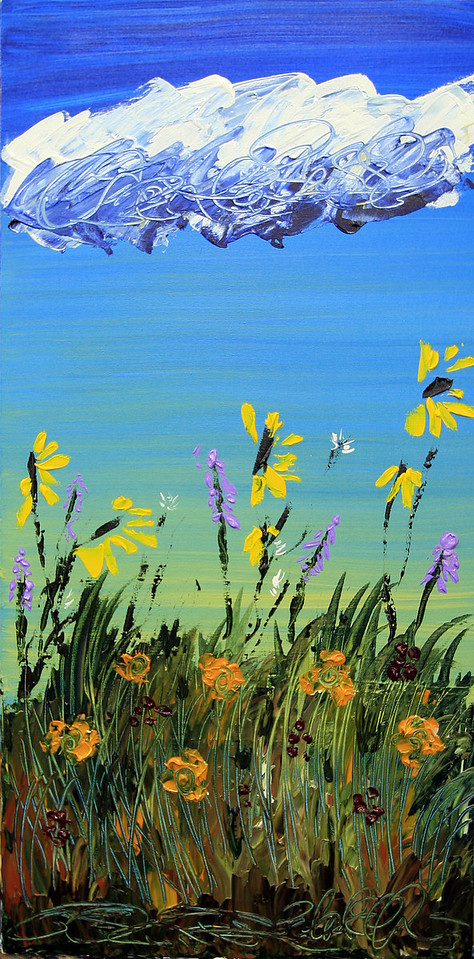 "END OF SUMMER<br /> 18"" x 36""<br /> Acrylic on Canvas<br /> It's inevitable isn't it? The flowers fade, the petals blow, and the seasons change...as the clouds drift slowly by.<br /> $1,950.00 unframed<br /> Artist Signature Lower Right"