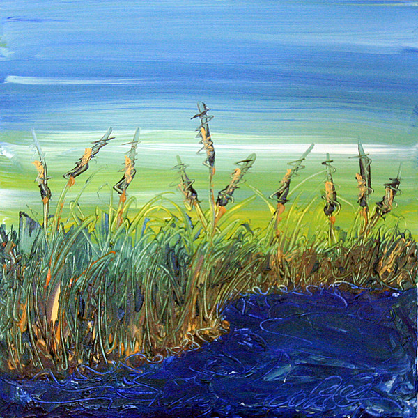 "HIGH TIDE<br /> 20"" x 20""<br /> Acrylic on Canvas<br /> An impression of an incoming tide as it approaches the reeds and cattails along the North Carolina coastline.<br /> Artist Signature Lower Right<br /> $1,200.00 unframed"