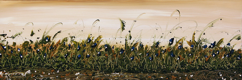 BLUE FLORAL AMP'D<br /> <br /> 12x36<br /> Acrylic on Canvas<br /> $1,295.00 framed<br /> Artist Signature Lower Right