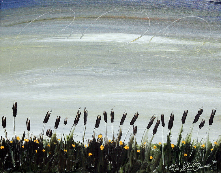 "CATTAILS UNDER MINNESOTA SKY<br /> 22"" x 28""<br /> Acrylic on Canvas<br /> $1,850.00 Unframed"