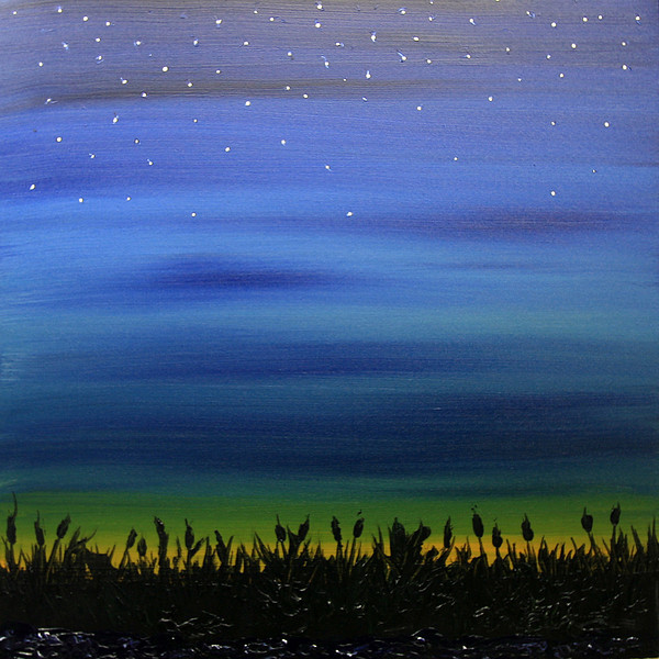 "FADING LIGHT<br /> 30"" x 30""<br /> Acrylic on Canvas<br /> A reflective view of twilight over a cattail filled marsh in Eastern Iowa. Tonal blends of Prussian Blue, Indian Yellow, Sap Green Hue, and Carbon Black<br /> Artist Signature Lower Right<br /> PRIVATE COLLECTION of the Kelsay Family"