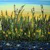 "CATTAILS WITH WILDFLOWERS<br /> ON DISPLAY AT PEDIATRIC DENTISTRY OF CORALVILLE, PC<br /> 414 10th Avenue, Suite B<br /> 36"" x 48""<br /> Acrylic on Canvas<br /> Cattails and Wildflowers Mingled with Greens, Violets, Indian Yellows, and Deep Blues under a Bright Sky<br /> $5,200.00 unframed<br /> Artist Signature Lower Right"