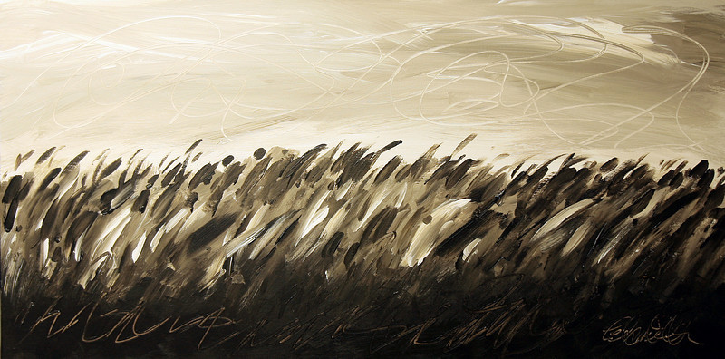 "SUMMER RUSH<br /> Acrylic on Canvas<br /> 24"" x 48""<br /> Inspired by the grassy flatlands in Eastern Colorado. <br /> Monochromatic tones in Van Dyke Brown and Titanium White.<br /> $3,500.00 Unframed<br /> Signature Lower Right<br /> Contact: Chait Galleries Downtown<br /> 319-338-4442"