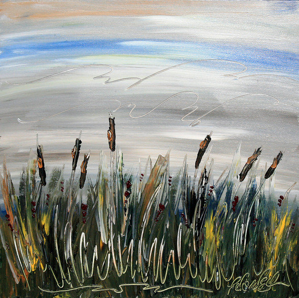 "CATTAILS AT DUSK<br /> 30"" x 30""<br /> Acrylic on Canvas<br /> Impressions of late summer Minnesota fishing trips.<br /> $2,700.00 Unframed<br /> Artist Signature Lower Right"