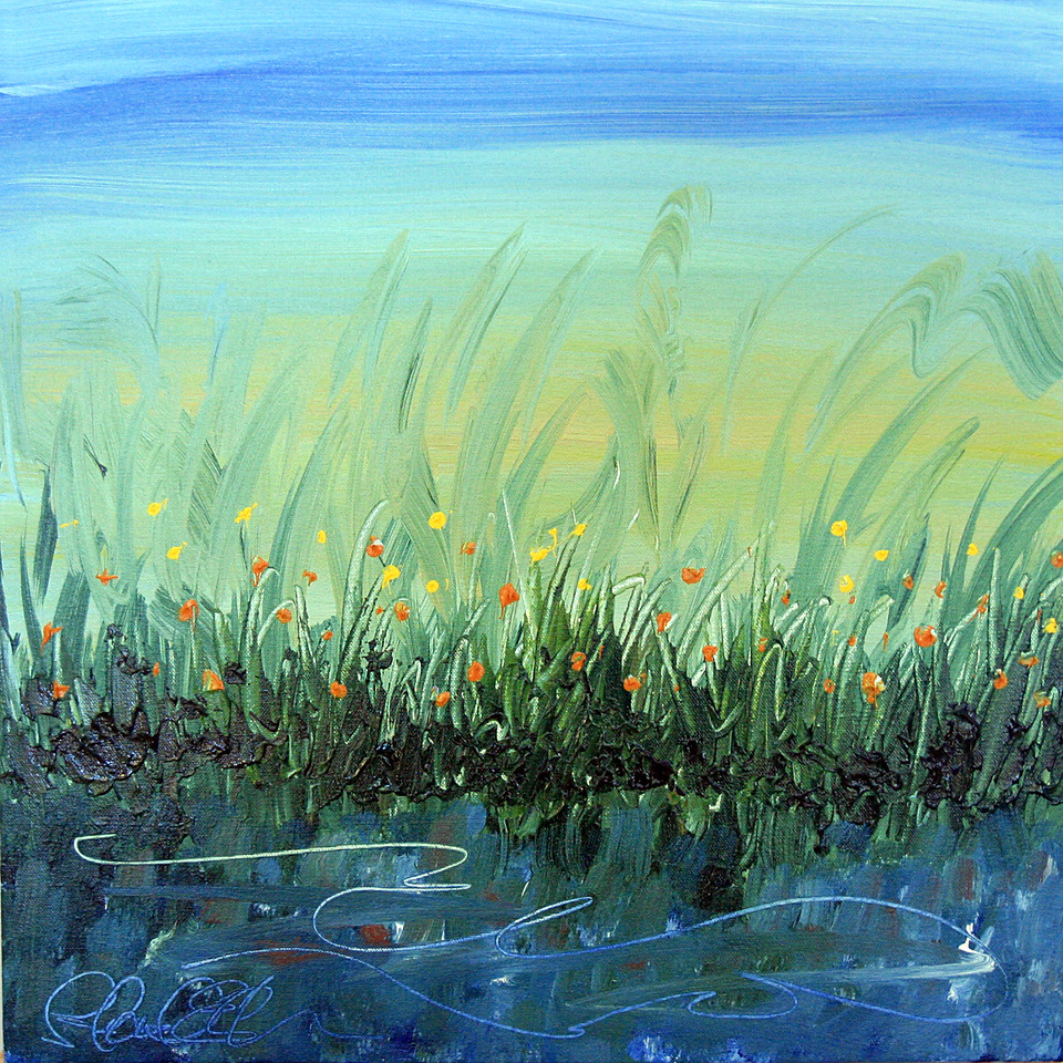 "REFLECTION 1<br /> 20"" x 20""<br /> Acrylic on Canvas<br /> Whispy florals along a still pond.<br /> Artist Signature Lower Left<br /> $1,200.00 unframed<br /> Contact: Chait Galleries Downtown<br /> 319-338-4442"