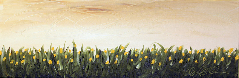 "YELLOW FLORAL<br /> Acrylic on Canvas<br /> 12""x36""<br /> $600.00 Framed<br /> Artist Signature Lower Right"