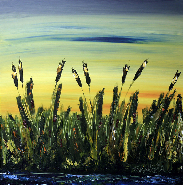 "CATTAILS AT SUNRISE<br /> CURRENTLY ON DISPLAY AT FIRST AMERICAN BANK in IOWA CITY<br /> 30"" x 30""<br /> Acrylic on Canvas<br /> A wonderful blend of Deep Greens, Earthy Browns, and Bright Yellows with a touch of Crimson Berries<br /> $2,700.00 unframed<br /> Artist Signature Lower Right<br /> Contact: Chait Galleries Downtown<br /> 319-338-4442"